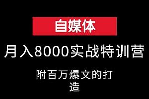 自媒体月入8000实战特训营